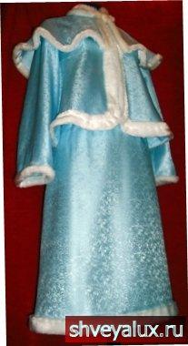 Костюм Снегурочки БОЯРЫШНЯ – шёлковая ткань, обработанная мехом