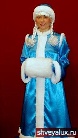 Костюм Снегурочки РУССКАЯ КРАСА. Аксессуары - рукавички, шапочка, косички.