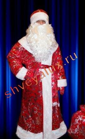 """Бархатный костюм Деда Мороза с маленькими узорами"""