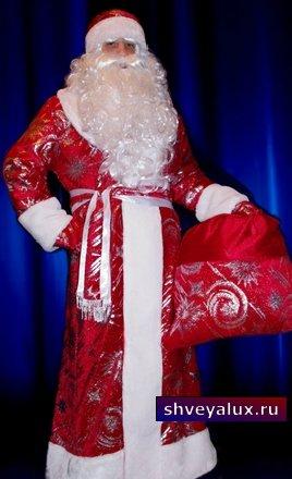Костюм Деда Мороза - Бархат с рисунком
