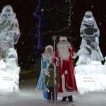 Дед Мороз и ледяные статуи Ухта